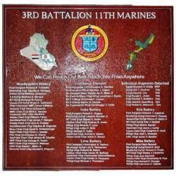 3rd Battalion 11th Marines Deployment Plaque