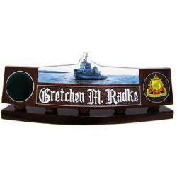 Custom Navy Desk Nameplate