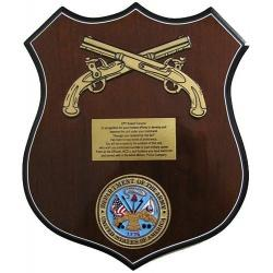 army shield plaque in cross pistol design