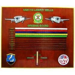 greenie board vaw-115 liberty bells navy deployment plaque