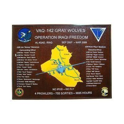 Electronic Attack Squadron 142 Gray Wolves Navy Deployment Plaque