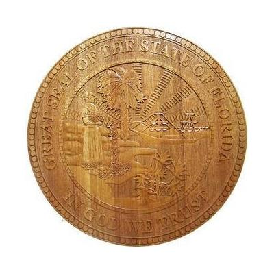 Florida State Seal Wood Finish Seal Plaque