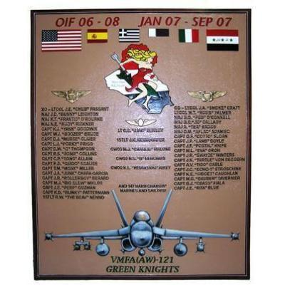 Marine All Weather Fighter Attack Squadron 121 Deployment Plaque