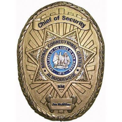 Regional Correctional Center Chief of Security Badge Plaque