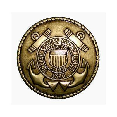 coast guard seal coin plaque gold brass finish