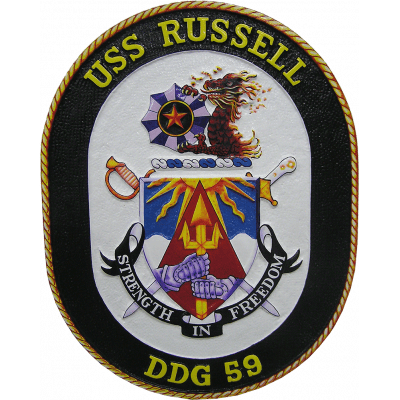 uss russell seal plaque
