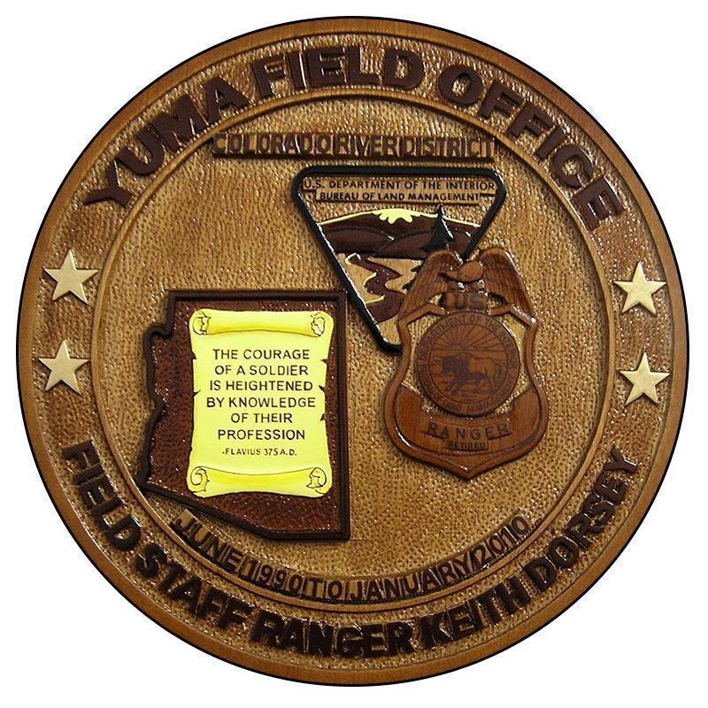 Yuma Field Office Field Staff Ranger Retirement Plaque, Custom retirement plaques